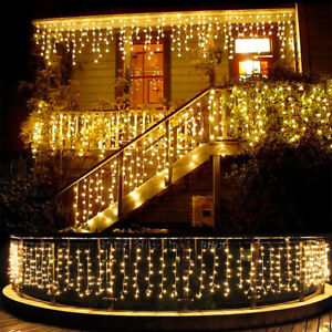 LED Icicle Curtain String Lights Lamps Christmas Wedding Party Indoor
