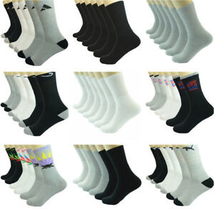 3-12 Pairs Mens Mix Sports Athletic Work Crew Cotton Casual Long Socks Size 9-13