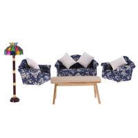1/12 Sofa Cushions End Table Floor Lamp Set Dollhouse Living Room Furniture