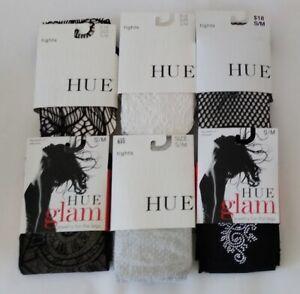 Hue Womens Textured Net Opaque Tights 6 Count Lot Asst Size Small / Medium NEW
