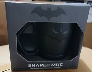Batman Shaped Mug 3-D Bat Symbol Sleek Black Finish 12 Ounce Coffee New In Box