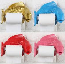 Wall Mounted Resin Toilet Paper Roll Holder Bathroom Hanger Fish Art Home Decor