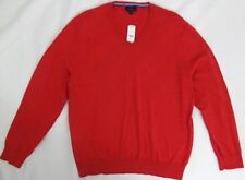 Brooks Brothers Men Sweater Pullover Cotton V Neck Orangey Red XL Long Sleeve