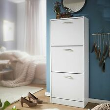 FineBuy Armadio per Scarpe Bianco 50x125x24 cm Legno Scarpiera da interno