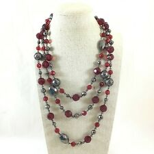 """Dark Metal Tone & Faceted Red Plastic Beads Chain Necklace 60"""" Long"""