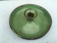 Vintage enamel green candle holder dish