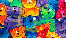 Cat Poster/Smiling Cats/Kittens/Colorful Illustration/Wall Decor/13x19 inches