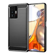 Schutzhülle für Xiaomi 11T + Pro Silikon Case Carbon Look schwarz Bumper Cover