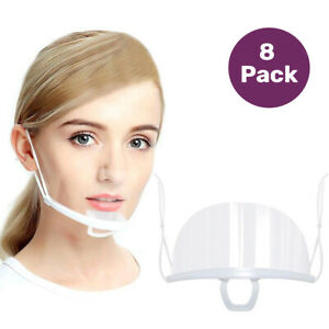 8 Pack Transparent Face Mouth Shield Sanitary Reusable Mouth Cover White