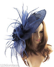 Navy Blue Fascinator Hat For Weddings/Ascot/Proms With Headband M2