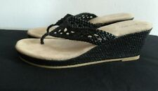 Women's Black Old Navy Woven Look Wedge Thongs Sandals Size 8