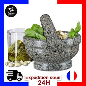 Relaxdays Mortier et Pilon en Granit Poli Pierre Naturelle 17 cm Diametre Epices