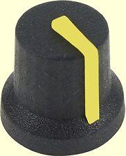 10 pcs. Poti-Knopf Drehknopf Achse: 6mm schwarz gummiert Zeiger: gelb CL170845CR
