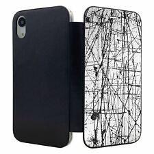 iPhone XR Flip Wallet Case Cover Black Lines Abstract Art - S54