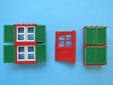 Lego 4 x Fenster 3853 rot Sprosse 3854 weiß Fensterlade 3856 grün + Tür rot