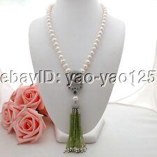 K070506  22'' White Pearl Necklace Cz Pave Peridot Tassel Pendant