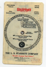 1936 Celluloid Starrett Tool Dial for Screw Threads