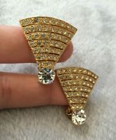 VINTAGE gold plated  large CLIP-ON earrings Sparkle Fans - Triangles