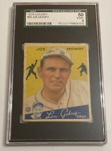 1934 Goudey #59 Joe Mowry Boston Braves SGC 50 VGEX 4