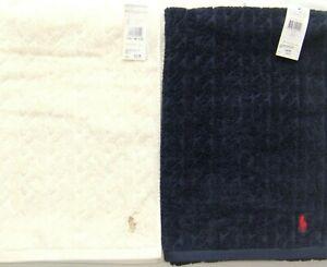"""Ralph Lauren Luxury Bath Towel Cable Knit Cotton Cream Navy Towels 24x53"""" RRP£49"""