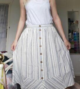 Fat Face Cream Stripe Button Through A Line Skirt Linen Cotton UK 12 lined