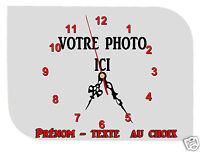 horloge pendule murale REF F015 à personnaliser PHOTO PRENOM TEXTE AU CHOIX