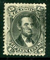 USA 1866 Lincoln 15¢ Black Scott # 77 VFU J303 ⭐⭐⭐⭐⭐⭐