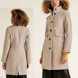 M&S 3/4 length TAILORED Funnel Neck COAT ~ Size 14 ~ OATMEAL (rrp £59)