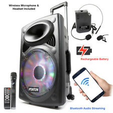 """FPS12 Powered Portable PA Speaker System 12"""" Bluetooth with Microphone & Headset"""
