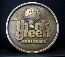John Deere Earth Day Think Green Brass Belt Buckle 1994 Limited Edition #224/500