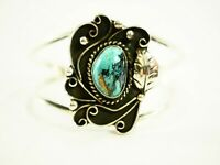 Navajo Ladies Turquoise Cabochon Cuff Bracelet signed Sterling Silver