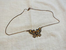 Beautiful Necklace Copper Tone Amber Gold AB Rhinestones Butterfly Pendant WOW