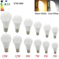 E27 B22 LED Light Bulbs 3W/5W/7W/9W/12W/15/18W Energy Saving 5730SMD Globe Bulbs