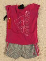 Adidas Little Girls Toddler Pink / Gray 2-piece Short T-Shirt Set 5, 6
