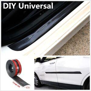 2m 3D Carbon Fiber Car Door Sill Trunk Bumper Sticker Decor Step Protector Cover