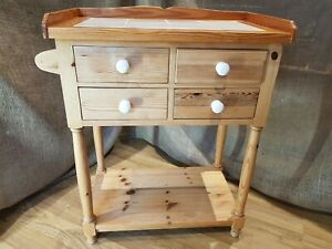 Solid Pine Tiled Kitchen Island Trolley Storage butchers Unit Block W 4 Drawers