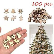 100x DIY Natural Wooden Chip Christmas Tree Hanging Ornaments Pendant Kids Gift