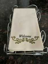 Silver Guest Towel Napkin Holder Caddy and Everyday Bathroom Guest Towels Bundle
