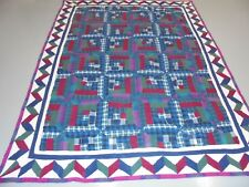 Nice Multi-Color Flannel Log Cabin w/Zigzag Frame Quilt