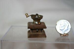 Miniature Dollhouse Wood & Brass Coffee Grinder Moveable Handle Vintage Japan NR