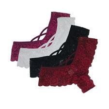 Sexy 4PCS Women Lace Flowers Low Waist Underwear Panties G-string Lingerie Thong
