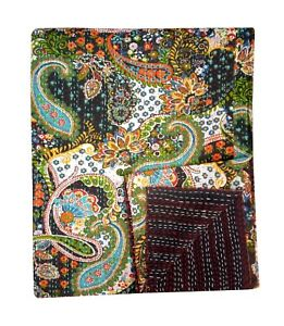 Double Vintage Paisley Kantha Quilt Blanket Bedspread Coverlet Bed Runner