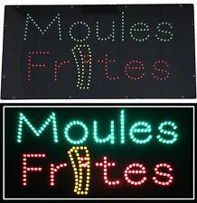 Panneau Enseigne lumineuse à LED Moules Frites 60x30x2.5cm