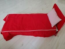 American Girl Molly Bed Pleasant Company Red Corduroy Bedspread Striped Pillow