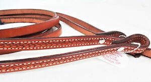 "Pair Billy Cook Basket Stamped Split Reins Leather Horse Tack Western 8ft+ 5/8"""