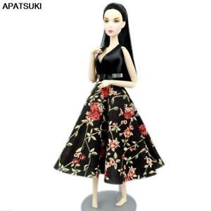 """Black Floral Fashion Dress Outfits for 11.5"""" Doll Clothes Party Gown Toys 1/6"""