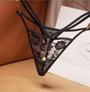 Schmuck mit String Tanga transparent Dessous Slip sexy Panty schwarz Reizwäsche