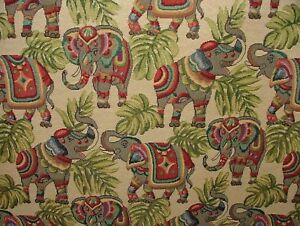 """Elephants """"Animal Tapestry"""" Designer Fabric Upholstery Curtains Cushions Throws"""