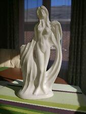 "Vintage Frankoma Pottery, White Glaze Nude Statue, signed by artist 12"" tall"