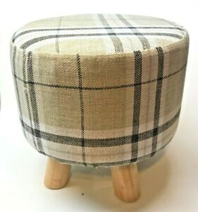 FOOTSTOOL PADDED PLAID FABRIC OTTOMAN 4 WOOD LEGS NWOT REMOVABLE COVER